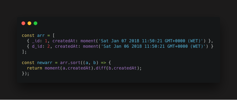 quick tip on how to sort an array by date, using momentjs